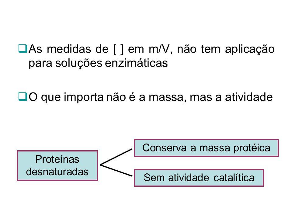 As medidas de [ ] em m/V, não tem aplicação para soluções enzimáticas